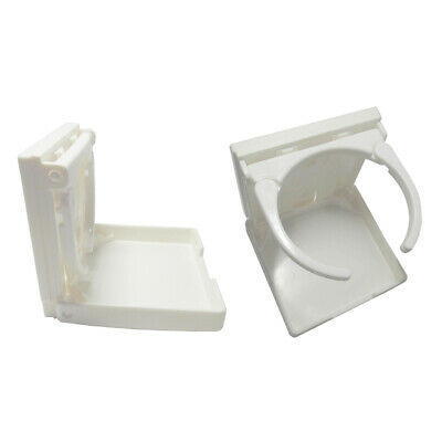 2 Adjustable Folding Plastic Drink Bottle Cup Holder Marine Boat RV White