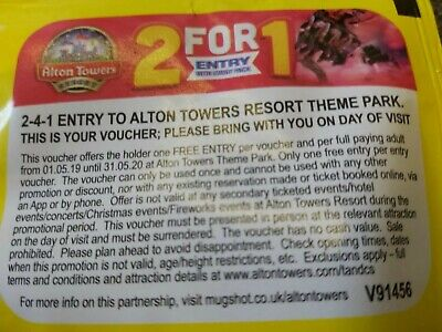 2 FOR 1 Entry Voucher Alton tower's