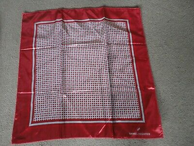 Ladies Headscarf/Square By Daniel Hechter-Appears Unused-Red And White Pattern-