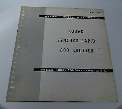 Servicing the Kodak Synchro-Rapid 800 Shutter (20 Pages) 1950
