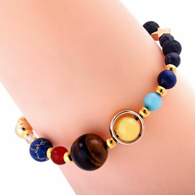 New Universe Solar System Galaxy Beads Braided Bracelet Gift Eight Planets Stone