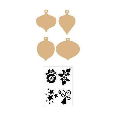 Pronty MDF Shapes & Stencil - Four Christmas Decorations #68