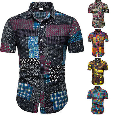 Mens Retro Floral Geometric Patchwork Short Sleeve Tees Summer Beach T Shirts