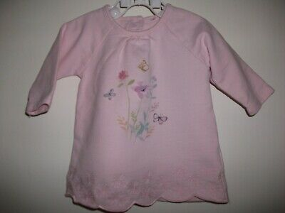 Mothercare Baby Girls Pink Ling Sleeved Floral Print Dress - Up To 3 Months