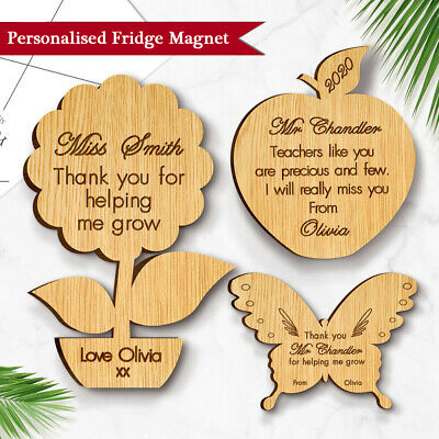 Personalised Thank you Teacher Gift Wooden Fridge Magnet School Nursery Leaving