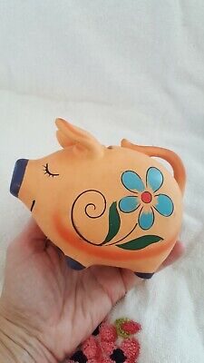 VINTAGE NAPCO orange PIGGY BANK CERAMIC  FLORAL