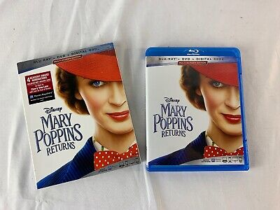 Mary Poppins Returns (Bluray+DVD) Movie 2019 w/Slipcover No Digital