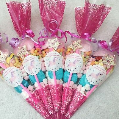 10 X Pink Unicorn Themed Pre Filled Sweet Cones Personalised + Free Sweety Bag