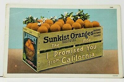 Sunkist Oranges The Box I Promised You from California to Omaha Neb Postcard I17