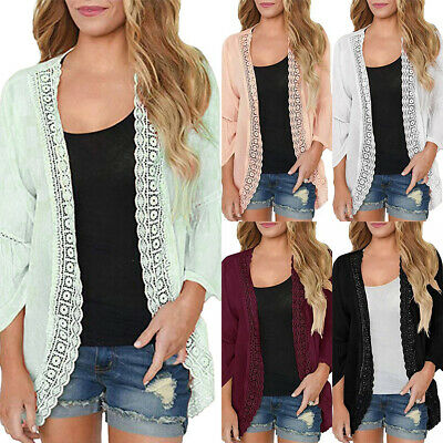 Women's Summer Sheer Chiffon Cardigan Lace Edge Casual Holiday Beach Cover Up