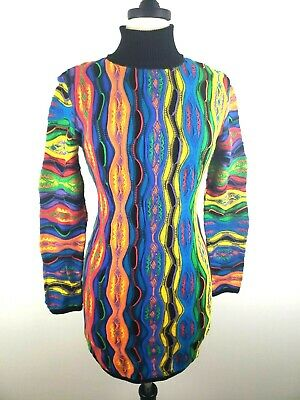 COOGI WOMENS SIZE Medium Blue Green Multicolor Sweater Short Dress ...
