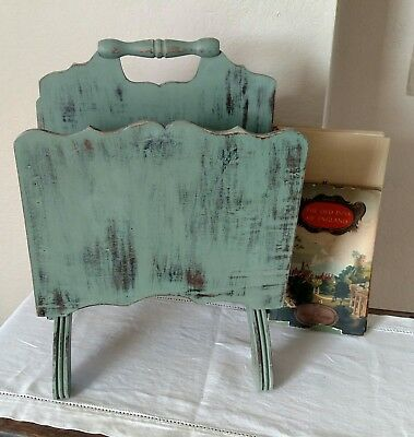 Antique Vintage Wood Magazine Rack Painted Distressed Shabby Farmhouse Green