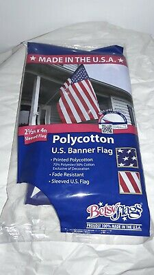 Valley Forge Betsy Flags 2 1/2 ft x 4 ft Banner Sleeved Flag Proudly Made In USA