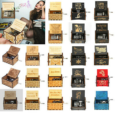 Wooden Music Box Case Antique Hand Crank Engraved Harry Potter Toys Kids Gifts