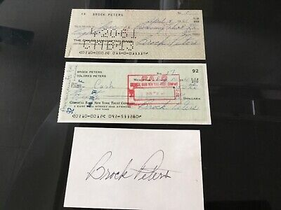 BROCK PETERS Actor & Activist 1961 Two Signed Bank Checks & Signed Index Card