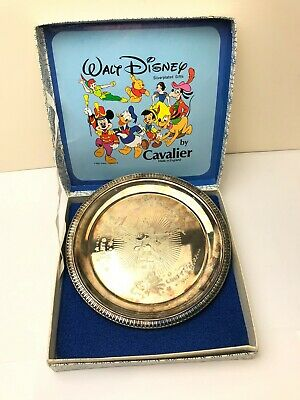 VINTAGE WALT DISNEY SILVER PLATED DECORATED TRAY by CAVALIER
