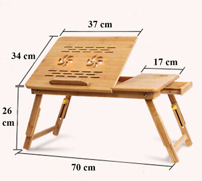 Bamboo Notebook Laptop Table desk mouse Stand Portable Adjustable Legs Tray