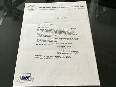 NAACP 1974 Signed Letter Sent To Actor & Civil Rights Activist Brock Peters