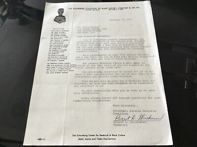 The Schomburg Collection of Black History 1975 Signed Letter To Brock Peters