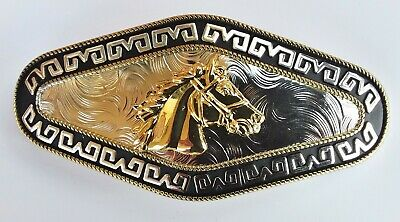 Horse Head Animal Extra Long Rodeo Big Cowboy Western Gold Belt Buckle