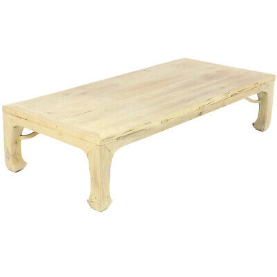 Asian Coffee Table, Driftwood Look Natural Reclaimed Antique Elm Wood 32″ x 69″
