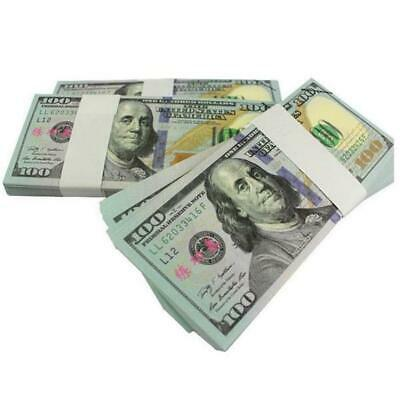 100 Bills Full Print Best Movie Prop Play Fake Money Joke Prank Magic Props FE