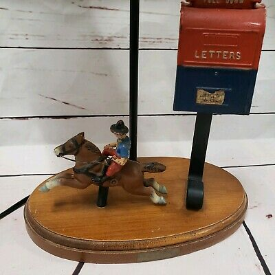Vintage Cast Iron The Pony Express Lamp horse mailbox metal