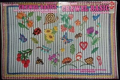 CREWEL BASICS PATTERN BOOK - 25 DESIGNS with 20 IRON ON TRANSFERS - LOOK!