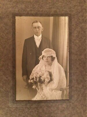 Original Antique Early 1900s Wedding Photograph The Kimball Studio Concord N.H.