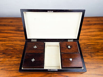 Antique English Inlaid Mahogany Playing Cards Box Wood Edwardian Jewelry 1900s