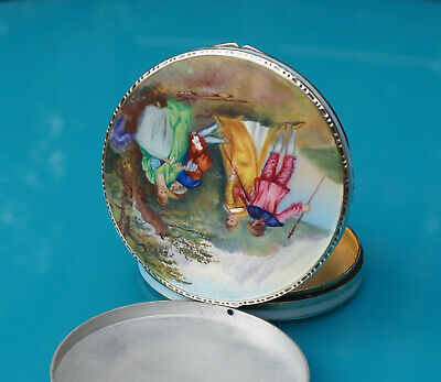 Small Guilloche and Sterling Ladies Vanity Powder Compact w/Hand Painted Scene