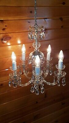Vtg/Antique Victorian Curved Arm Crystal Glass 5 Light Fixture Chandelier