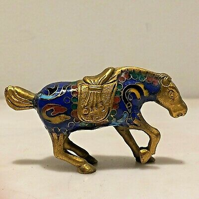 Antq. Chinese Cloisonne Enamel Horse Figurine Blue & Gold