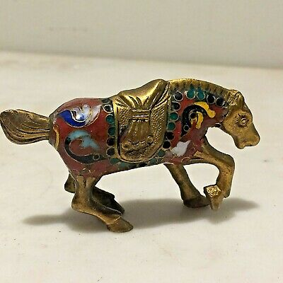Antq. Chinese Cloisonne Enamel Horse Figurine Red & Gold