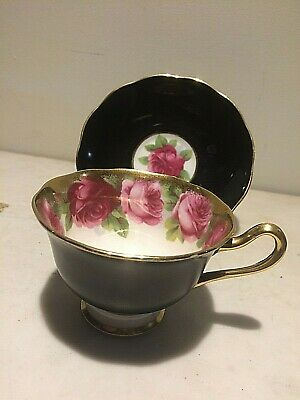 Old English Rose Black Ext with Half Gold Handle Royal Albert Tea Cup and Saucer
