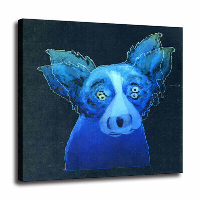 HD Print Canvas Cartoon Blue Dog Wall Art Decor Painting 18x18
