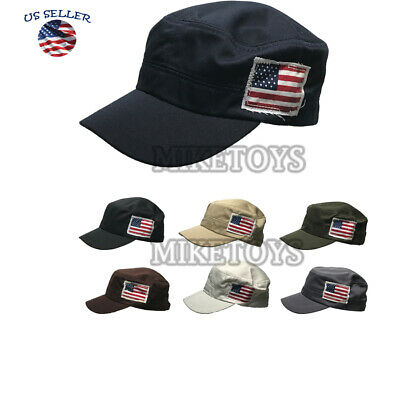 Navy Blue CASTRO ARMY HAT Real 100/% Lambskin Leather Military Combat Cap