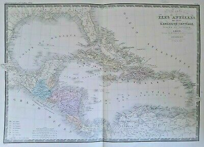 Card geographical antique Islands Antilles gulf of Mexico large format 1875