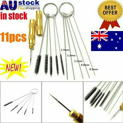 11pc Airbrush Spray Cleaning Repair Tool Kit Stainless steel Needle Brush Set AU