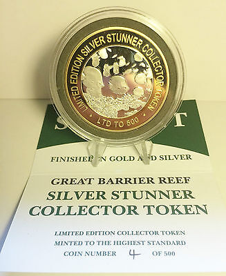 """""""GREAT B/REEF"""" 43mm """"SILVER STUNNER"""" C/TOR TOKEN C.O.A. $50 at Mint oly 500 Made"""