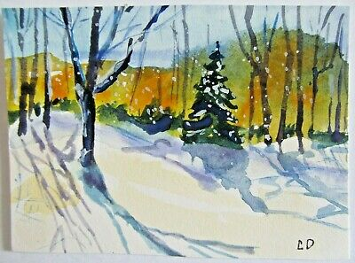 ACEO Original Watercolor Painting Snowstorm Winter Landscape New England Carlie