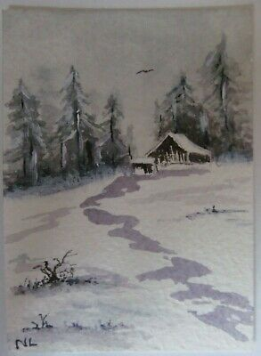 ACEO Original Watercolor Painting Mountain Cabin Snow Landscape Nancy Lavender
