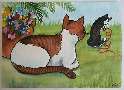 ACEO Original Watercolor Ink Cats Tuxedo Tiger Stripe Tabby Cat by Kit Lundwall