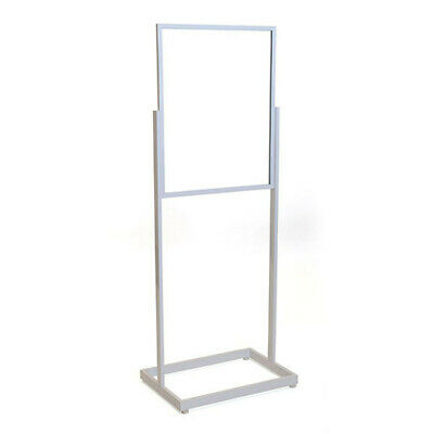 Floor Standing Sign Holder in White 22 x 28 Inches with Rectangular Tube