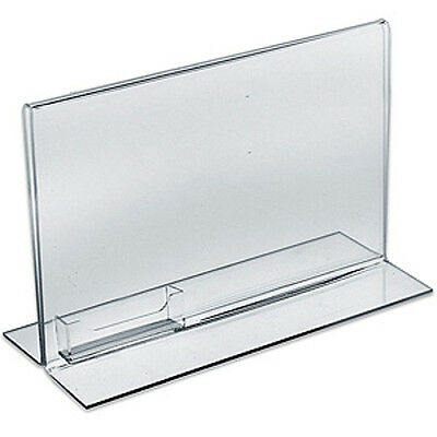 Acrylic Clear Double Sided Sign Holder 11W x 8.5H Inches w/ Pocket - Box of 10