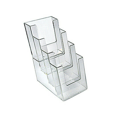 Plastic Clear 4Pocket Trifold Size Brochure Holder 4.25W x 10H Inches - Lot of 2