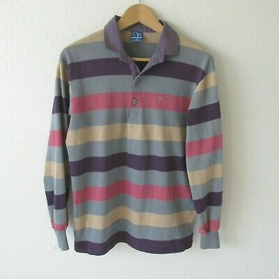 Vtg 80s OP Ocean Pacific Men's Color Block Long Sleeve Polo Shirt Made in USA LG