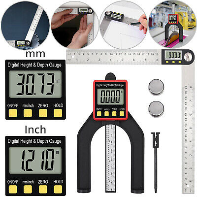 "8"" Digital Angle Finder Protractor Height & Depth Gauge LED Display +Hold Button"
