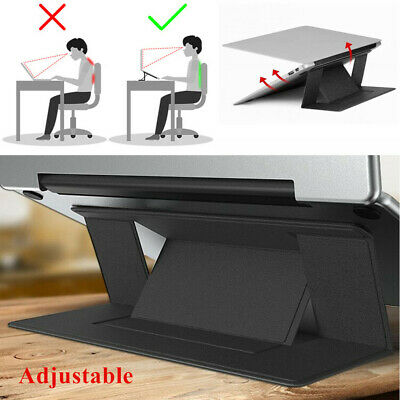 Black Invisible Laptop Stand Seamlessly Portable Folding Notebook Holder Bracket