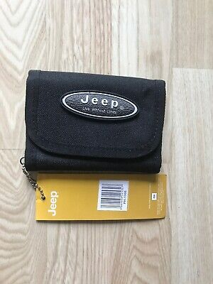 Womens Mens Boys JEEP Canvas Tri-Fold Sports WALLET Black Strong Tough JEEP
